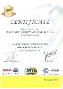 Certificate - Hella 2019