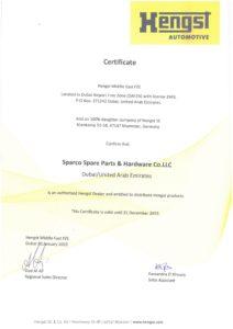 Certificate - Hengst 2019